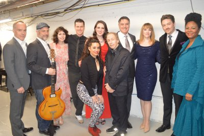 "Entire cast backstage surround creator/writer/host Scott Siegel (center) after ""Broadway by the Year: The 1930's"" on February 22, 2016 (Photo credit: Maryann Lopinto)"