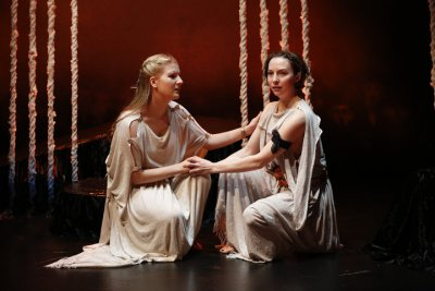 """Katie Fabel as Ismene and Rebekah Brockman as Antigone in a scene from Seamus Heaney's """"The Burial at Thebes"""" (Photo credit: Carol Rosegg)"""