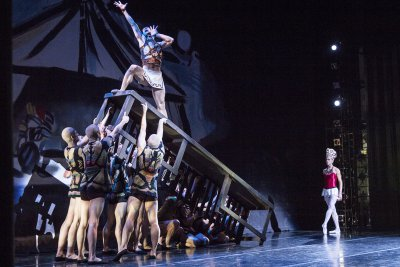 """Pacific Northwest Ballet principal dancers James Moore and Lesley Rausch with company dancers in Balanchine's """"Prodigal Son"""" (Lindsay Thomas)"""