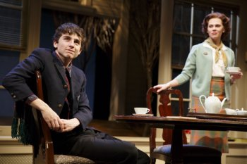 """Timothée Chalmet and Annika Boras in a scene from John Patrick Shanley's """"Prodigal Son"""" (Photo credit: Joan Marcus)"""