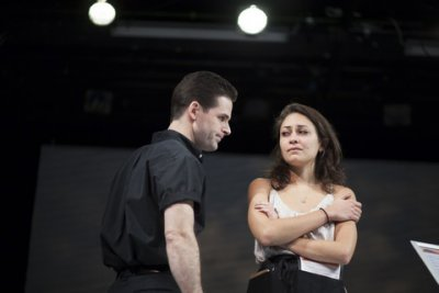 """John Egan and Kara Dudley in a scene from """"Prix-Fixe,"""" part of Adults Only (Photo credit: Eulone Gooding)"""