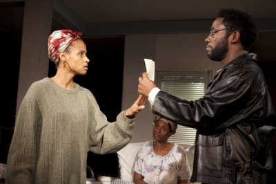 "Lakisha Michlle May, Chinasa Ogbuagu and Chinaza Uche in a scene from ""Sojourners"" (Photo credit: Chasi Annexy)"