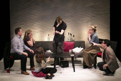 "Matt Reeves, Rachael Lee, Farrah Crane (back to camera), Sam Gilroy, Tessa Borbridge and Matt Mundy in a scene from ""The Needle through the Arm Trick"" (Photo credit: Edward Morris)"