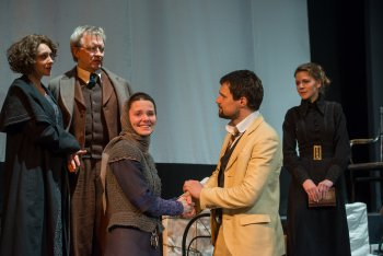 """The cast of The Maly Drama Theatre of St. Petersburg's production of """"The Cherry Orchard"""" (Photo credit: Stephanie Berger)"""