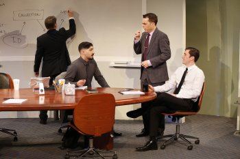"Michael Ray Wisely, Jason Kapoor, Mark Anderson Phillips and Ben Huphrat in a scene from ""Ideation"" (Photo credit: Carol Rosegg)"
