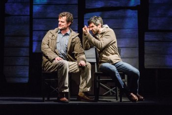 """Michael Cumpsty and Michael Crane in Dan O'Brien's """"The Body of an American"""" (Photo credit: James Leynse)"""