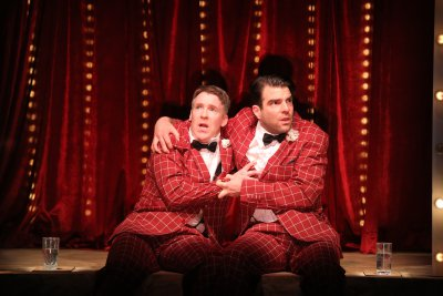 """Brian Hutchison and Zachary Quinto in a scene from Noah Haidle's """"Smokefall"""" (Photo credit: Joan Marcus)"""