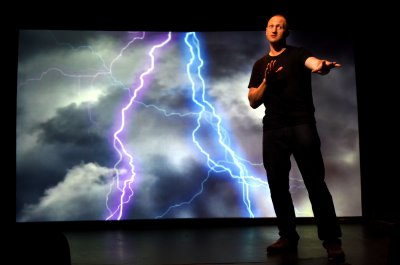 """Baba Brinkman in a scene from """"Rap Guide to Climate Chaos""""(Photo credit: Olivia Sebesky)"""