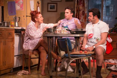 "Joli Tribuzio, Mario Cantone and Johnny Tammaro in a scene from ""A Room of My Own"" (Photo credit: Ben Strothmann)"
