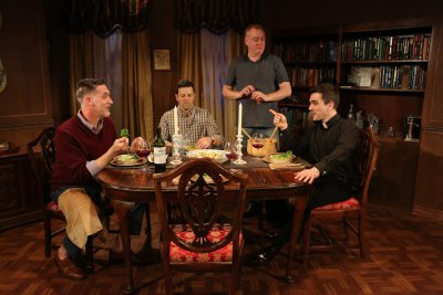 "Liam Torres, John J. Concado, David Grimm and Dan Domingues in a scene from ""Locusts Have No King"" (Photo credit: Carol Rosegg)"