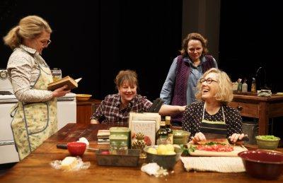 "Lynn Hawley, Amy Warren, Maryann Plunkett and Meg Gibson in a scene from ""Hungry"" (Photo credit: Joan Marcus)"