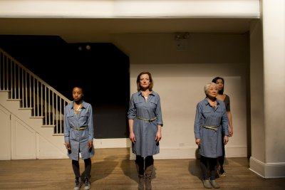 """Mirirai Sithole, Orlagh Cassidy, Kitty Chen and Caitlin Cisco in a scene from """"The Hundred We Are"""" (Photo credit: Derek Van Heel)"""