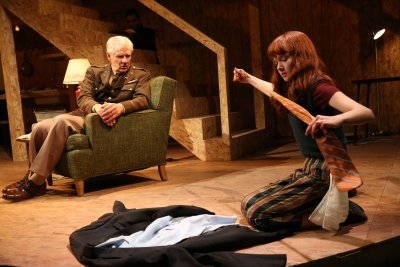 """Tom Bloom and Taylor Richardson in a scene from Noah Haidle's """"Smokefall"""" (Photo credit: Joan Marcus)"""