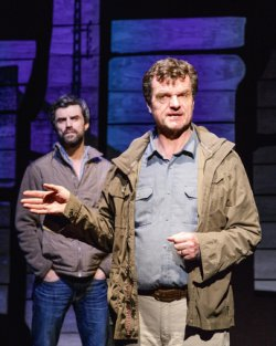 """Michael Crane and Michael Cumpsty in Dan O'Brien's """"The Body of an American"""" (Photo credit: James Leynse)"""