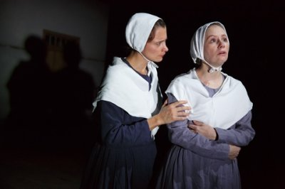 "Sophie Bortolussi and Sally Murphy in a scene from ""Angel Reapers"" (Photo credit: Joan Marcus)"