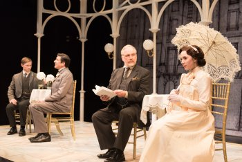 "Jeremy Beck, Jonathan Hadley, Terry Layman and Talene Monahon in a scene from ""Widowers' Houses"" (Photo credit: Marielle Solan)"