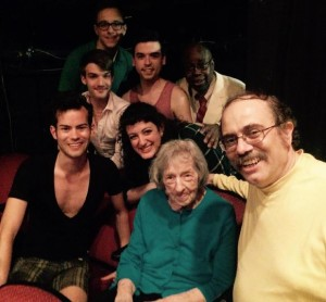 Edith O'Hara with Chip Deffaa and cast members from Mad About the Boy