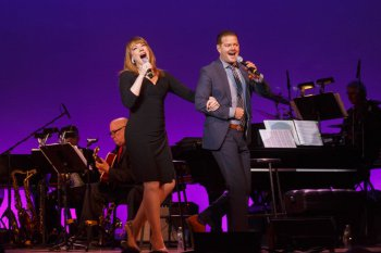 """Emily Skinner and Clarke Thorell as they sang Cole Porter's """"You're The Top"""" in 92Y's Lyrics & Lyricists Series: """"Everything's Coming Up Ethel: The Ethel Merman Songbook"""" (Photo credit: Richard Termine)"""