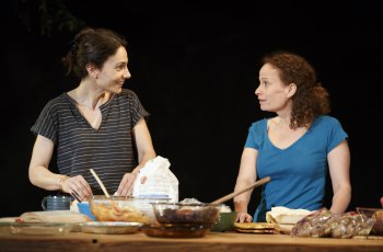 "Annie Parisse and Maria Striar in a scene from ""Antlia Pneumatica"" (Photo credit: Joan Marcus)"