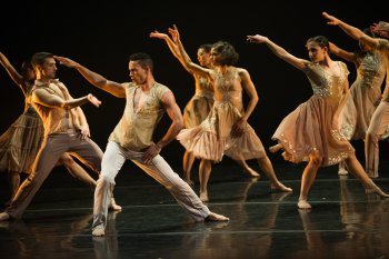 "Ballet Hispanico in a scene from Gustavo Ramírez Sansano's ""Flabbergast"" (Photo credit Paula Lobo)"