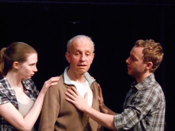 "Carla Duval, Alan Charney and Calvin Knie in a scene from ""A Pregnant Pause"" (Photo credit: Courtesy of American Theatre of Actors)"