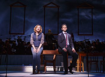 """Christiane Noll as Abigail Adams and Santino Fontana as John Adams as they sing """"Yours, Yours, Yours"""" in a scene from """"1776"""" (Photo credit: Joan Marcus)"""