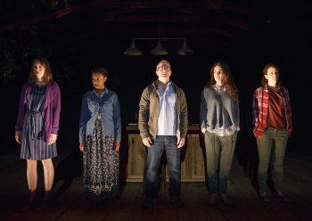 "Crystal Finn, April Matthis, Nat DeWolf, Annie Parisse and Maria Striar in a scene from ""Antlia Pneumatica"" (Photo credit: Joan Marcus)"
