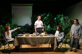 "Molly Bernard, Daniel Abeles, Eboni Booth and Jennifer Ikeda in a scene from ""Revolt. She Said. Revolt Again."" (Photo credit: Julieta Cervantes)"