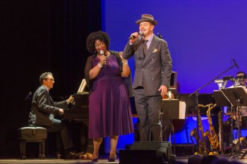 """NaTasha Yvette Williams and Clarke Thorell as they sang """"You Say the Nicest Things"""" in 92Y's Lyrics & Lyricists Series: """"Everything's Coming Up Ethel: The Ethel Merman Songbook"""" (Photo credit: Richard Termine)"""