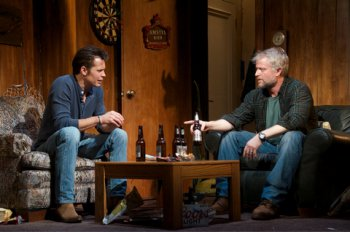 """Timothy Olyphant and C.J. Wilson in a scene from """"Hold On to Me Darling"""" (Photo credit: Doug Hamilton)"""