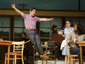 "Christopher Fitzgerald, Kimiko Glenn and Aisha Jackson in a scene from ""Waitress"" (Photo credit: Joan Marcus)"