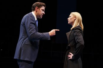 "Claire Danes and John Krasinski in a scene from ""Dry Powder"" (Photo credit: Joan Marcus)"