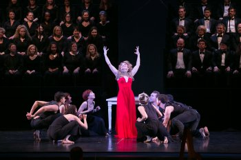 Victoria Clark as The Sorceress surrounded by the Doug Varone dancers in a scene from Dido and Aeneas (Photo credit: Erin Baiano)