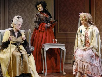 "Dana Ivey, Frances Barber and Helen Cespedes in a scene from ""The School for Scandal"" (Photo credit: Carol Rosegg)"