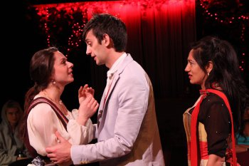 "Lauren Cipoletti, Daniel Kublick and Purva Bedi in a scene from ""Idiot"" (Photo credit: Carl Skutsch)"