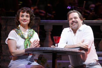 """Melissa Errico and Richard Troxell in a scene from """"Do I Hear a Waltz?"""" (Photo credit: Joan Marcus)"""