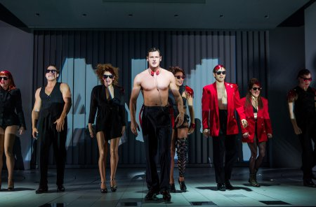 "Benjamin Walker and the cast of ""American Psycho The Musical"" (Photo credit: Jeremy Daniel)"