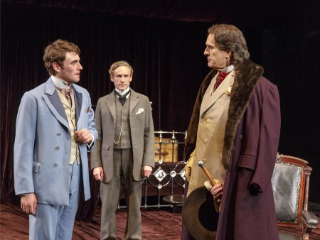 "Charlie Rowe, Cal MacAninch and Rupert Everett in a scene from ""The Judas Kiss"" (Photo credit: Richard Termine)"