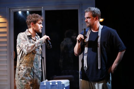 "Paul Wesley and David Harbour in a scene from ""Cal in Camo"" (Photo credit: Carol Rosegg)"