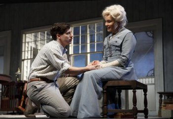 "John Gallagher, Jr. and Jessica Lange in a scene from ""Long Day's Journey into Night"" (Photo credit: Joan Marcus)"