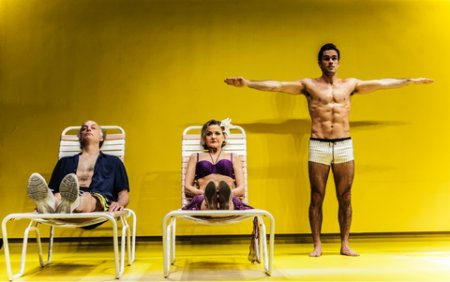 """Frank Wood, Alison Fraser and Ryan-James Hatanaka in a scene from Edward Albee's """"The Sandbox"""" (Photo credit: Monique Carboni)"""