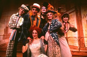 "Jeff Keller, Michael McCormick, Polly Pen (seated) Lynn Eldredge, Merle Louise and Mara Beckerman as the sang ""Circus of Voices"" in the original Off Broadway production of ""Charlotte Suite"" (Photo credit: Liz Wolynski)"