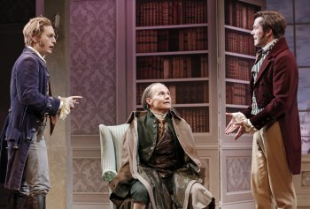 "Christian DeMarais, Henry Stram and Christian Conn in a scene from ""The School for Scandal"" (Photo credit: Carol Rosegg)"