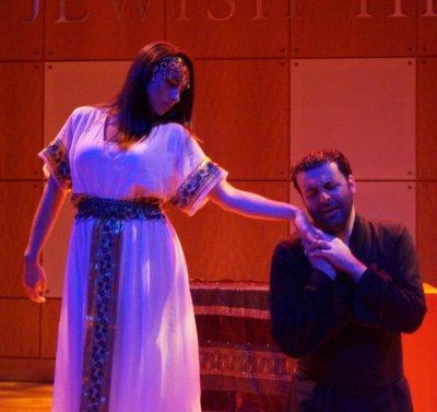 "Elena Barone and David Serero in a scene from the American Sephardi Federation's production of ""Othello"""