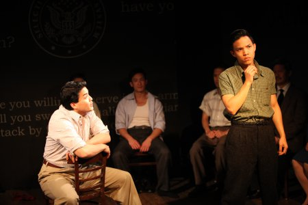 """Chris Doi, Hansel Tan and Tony Vo in a scene from """"No-No Boy"""" (Photo credit: John Quincy Lee)"""