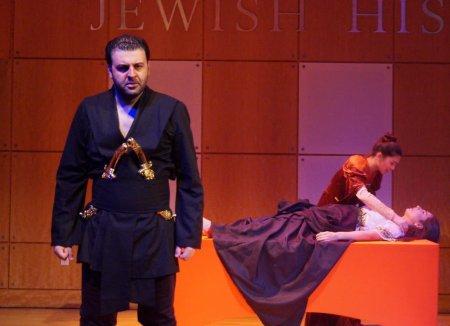 """David Serero, Amanda Vilanova and Elena Barono in a scene from the American Sephardi Federation's production of """"Othello"""""""