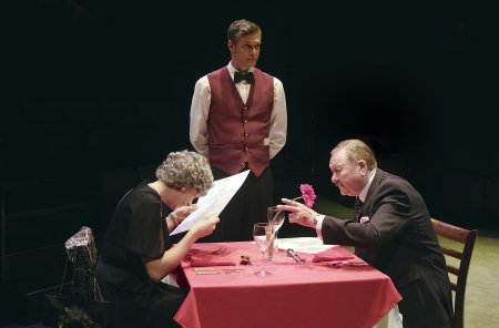 "Elizabeth Boag, Stephen Billington and Russell Dixon in a scene from Alan Ayckbourn's ""Confusions"" (Photo credit: Tony Barthlomew)"