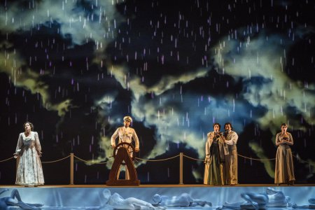 "Elizabeth Caballero, Kevin Thompson, Lisa Chavez, Luis Ledesma, and Sarah Beckham-Turner in a scene from the New York City Opera's production of Daniel Catán's ""Florencia en el Amazonas"" (Photo credit: Sarah Shatz)"