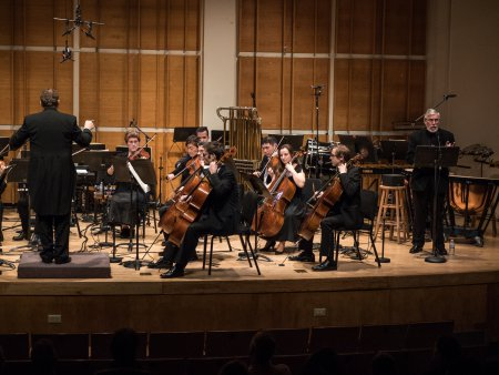 Music Director and conductor Erik Eino Ochsner and actor Edward Stone with SONOS Chamber Orchestra at Merkin Hall (Photo credit: Paul Olivier Doury)