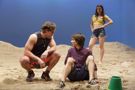 """Joe Tippett, Owen Campbell and Elise Kibler in a scene from """"Indian Summer"""" (Photo credit: Joan Marcus)"""
